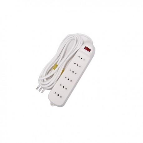 Alargador Múltiple 1.5 Mts. con Interruptor marca Rio color Blanco 6 Posiciones  2300W