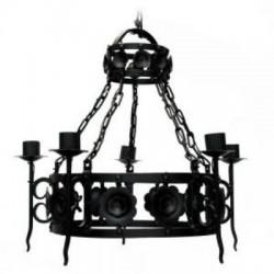 Lámpara de Colgar Florencia 5 Luces Hierro Forjado color Negro