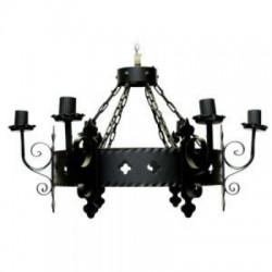 Lámpara de Colgar Toscana 6 Luces Hierro Forjado color Negro